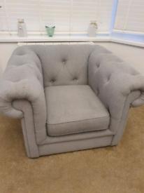 DFS grey button hole armchair