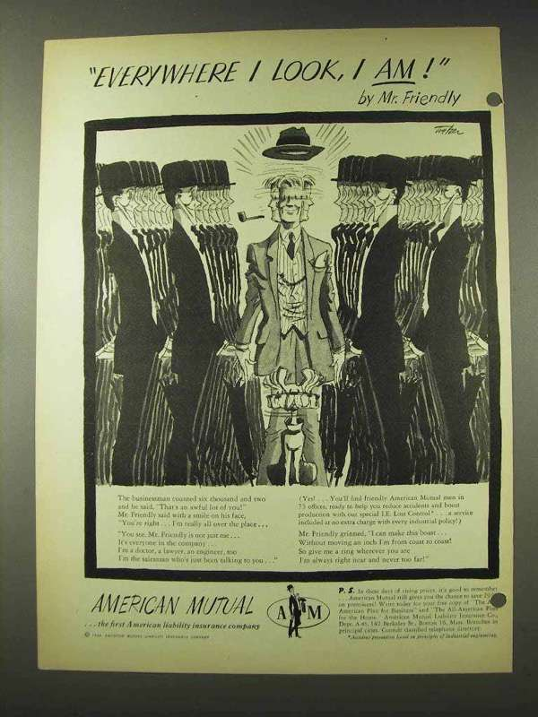1948 American Mutual Insurance Ad - Everywhere