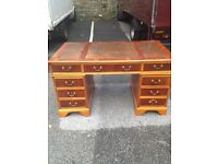 Antique style twin pedestal large desk with leather top