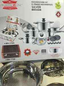 BERGHOME LINE 21 PC KITCHEN COOKWARE SET STAINLESS STEEL BH-1765
