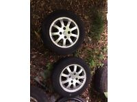 4 x Peugeot alloys with tyres