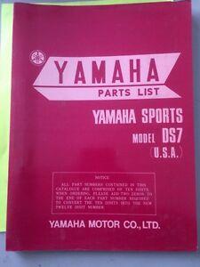 1971 Yamaha Sports DS7 250 USA Parts List Regina Regina Area image 1