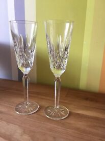Waterford Crystal champagne flutes. Wine Glasses. Tumblers.