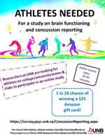 Concussion study for post-secondary student athletes