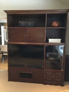 Large Solid Wood Mahogany Entertainment Centre
