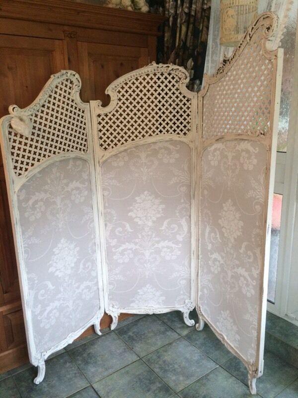 Antique French rococo Laura Ashley dove grey Josette room divider