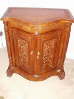 SHEESHAM Wood Hand Carved 2 Dr Cabinet Alimrah w/Brass Inlay