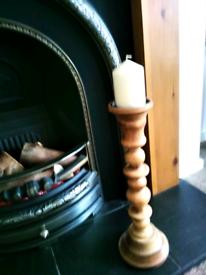 Solid Oak Tall Candlestick
