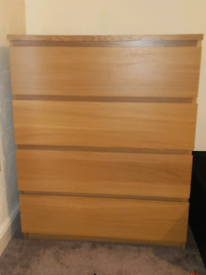IKEA malm 4 drawer chest of drawers in oak