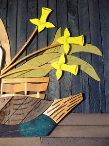 "Wooden Folk Art by Theodore Degroot ""Country Daffodils"" 1970's Stratford Kitchener Area image 8"