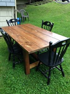 New handcrafted rustic dining room table
