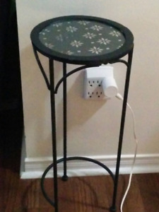 black metal framed glass top side table