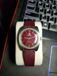1966 AUTOMATIC SANDOZ BURGUNDY WATCH VERY VERY RARE