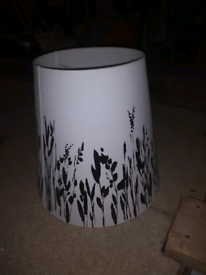 White & black lamp shade with floral silhouette