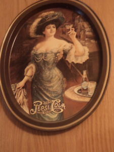 Pepsi Cola tray 15 x 11.5 and one 300 old Pepsi bottle 20.00