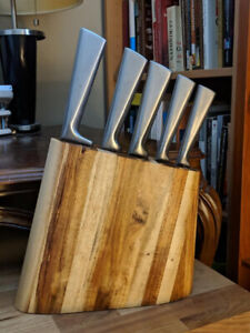 Il Mulino Stainless Steel Kitchen Knife set in Acacia Wood Block