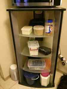 Sturdy executive glass and metal shelving unit
