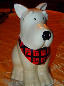 Cute Wee Scottie Dog w/scarf Glazed Cookie Treat Jar!