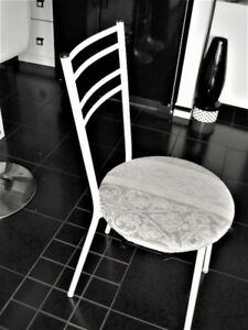 METAL DINING, KITCHEN CHAIR WITH REUPHOLSTERED PADDED SEAT