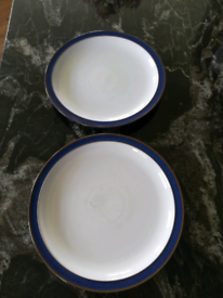 2x Denby imperial blue dinner plates