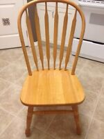 Solid Oak Dining Table, 2 leaves & 8 chairs