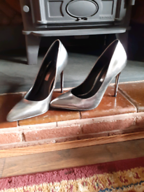 Miss Selfridge silver high heels
