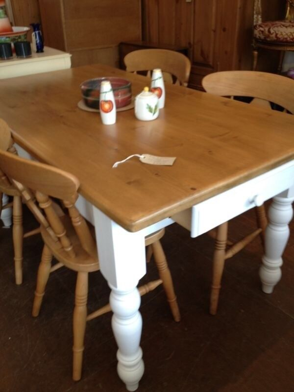 Farmhouse Style Wooden Kitchen Table With White Painted