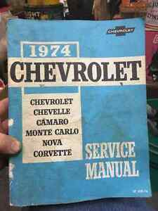 1974 Chevrolet Service Manual Corvette Camaro Chevelle Nova