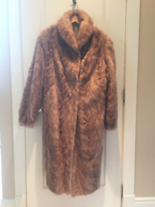 Ladies Full Length Honey Colored Mink Coat - Size Large