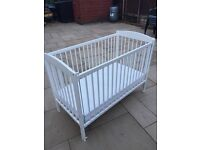 White Cot with mattress and protector cover