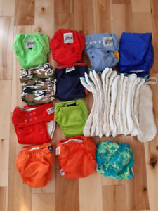 Lot of 9 assorted cloth diapers