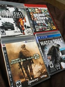 Jeux de PS3 ; Watch Dogs , MW2 , GTA IV, Battlefield 2