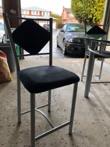 """Modern 54"""" Round Glass Table + 6 Suede Chairs!"""