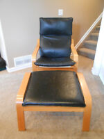 Ikea Poang Chair and Footstool with Leather Seating