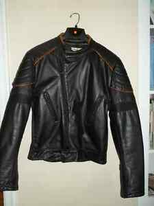 Black leather jacket with tan trim