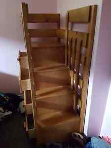 Wooden bunk bed stair case