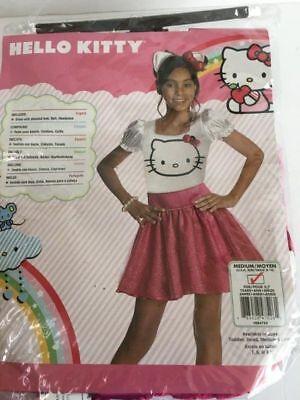 NEW HELLO KITTY Halloween Costume Girls Medium ages 5-7 Rubies Dress + headband](Hello Kitty Girl Halloween Costume)