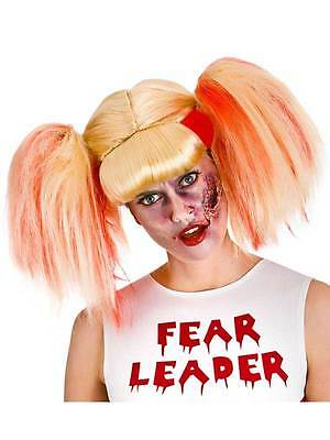 Blonde Cheerleader Wig Blood Zombie Ladies Halloween High School Fancy Dress