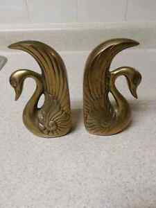 Solid Brass Swan Book Ends