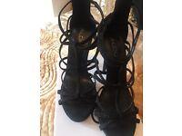 Aldo Black caged heels size 4