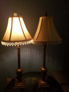 Antique Bronze look lamps with beaded fringe lampshade