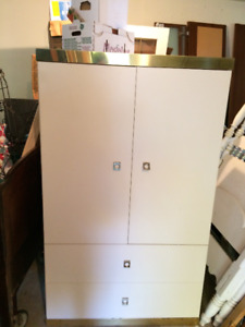 Cream and Brass Armoire
