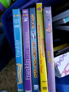 Assortment of kids dvds, books, crafts