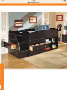Twin loft bed with dresser and shelves