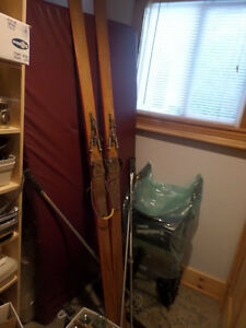 Antique wood skis, bindings, boots, poles
