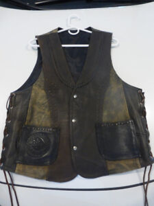 Motorcycle Vest- HAND SEWN LEATHER - Large 40-42