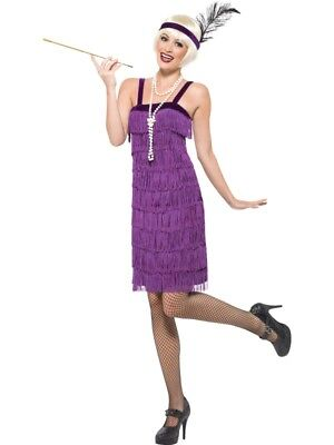 20er Jahre Charlestonkostüm Kleid Damen Flapper Kostüm Fransen lila