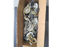 Box of gold and white downlights with halogen bulbs