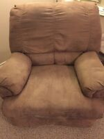 Suede recliner chair