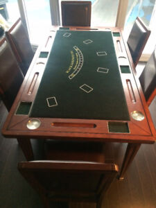 Cherry wood Dinning table - Converts to Black Jack and Craps